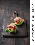 mini sandwiches with lettuce ... | Shutterstock . vector #1101318785