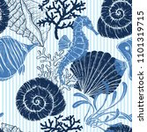 Sea Seamless Pattern. Seashell...