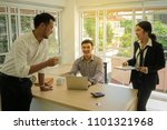 morning talk for business. a... | Shutterstock . vector #1101321968