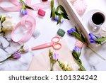 women's desk. flat lay  top... | Shutterstock . vector #1101324242