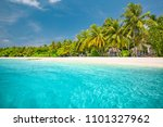 palm and tropical beach and... | Shutterstock . vector #1101327962