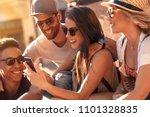 group of friends having good... | Shutterstock . vector #1101328835