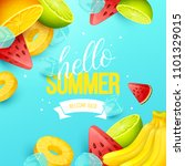 summer background with fruits....   Shutterstock .eps vector #1101329015