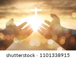 christian man with open hands... | Shutterstock . vector #1101338915