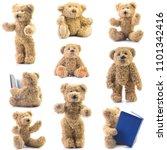 teddy bear isolated on white...   Shutterstock . vector #1101342416