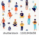 seamless pattern with young... | Shutterstock .eps vector #1101343658