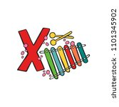 english letter x. xylophone.... | Shutterstock .eps vector #1101345902