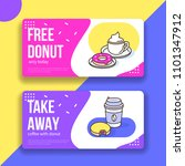 coffee and donuts gift voucher... | Shutterstock .eps vector #1101347912