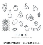 fruits icons. flat line vector...   Shutterstock .eps vector #1101351218