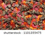 raw pizza background | Shutterstock . vector #1101355475