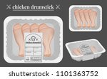 chicken drumstick packaging on... | Shutterstock .eps vector #1101363752