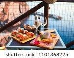 romantic dinner for two at... | Shutterstock . vector #1101368225