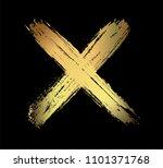 gold letter x.grunge x mark. | Shutterstock .eps vector #1101371768