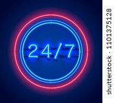neon signboard 24 7 open time....   Shutterstock .eps vector #1101375128