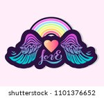 love text with heart  rainbow... | Shutterstock .eps vector #1101376652