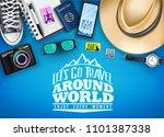 top view let's go travel around ... | Shutterstock .eps vector #1101387338