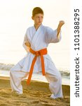 young boy exercising tae kwon... | Shutterstock . vector #1101388295
