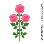 Stock vector pink rose with flowers in retro style flat vector illustration isolated on white background 1101392696