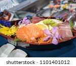 japanese food. salmon sashimi   Shutterstock . vector #1101401012
