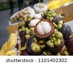 mangosteen fruit for sale.   Shutterstock . vector #1101402302