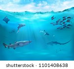 ocean with sharks. reef with... | Shutterstock . vector #1101408638