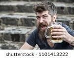 hipster with long beard looks... | Shutterstock . vector #1101413222