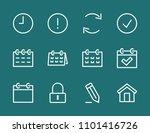 set calendar line icon stock...   Shutterstock .eps vector #1101416726
