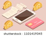 online payment by bank card and ... | Shutterstock .eps vector #1101419345