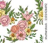 vintage vector floral seamless...   Shutterstock .eps vector #1101426692