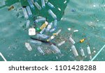 Plastic bottle in the ocean sea ...