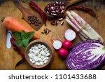 vegetarian food ingredients on...   Shutterstock . vector #1101433688