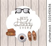 happy fathers day card with set ... | Shutterstock .eps vector #1101450656