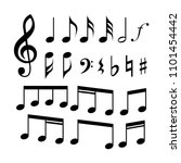 g clef  c clef  music notes and ... | Shutterstock .eps vector #1101454442