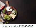 wine  cheese  grape  bread and... | Shutterstock . vector #1101456335