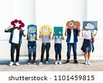 young diverse friends holding... | Shutterstock . vector #1101459815