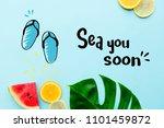 summer themed tropical beach...   Shutterstock . vector #1101459872