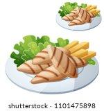 grilled chicken strips.... | Shutterstock . vector #1101475898