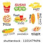 set of fast food. vector... | Shutterstock .eps vector #1101479696