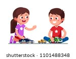 smiling girl   boy kids playing ... | Shutterstock .eps vector #1101488348