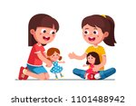 smiling girls kids playing with ... | Shutterstock .eps vector #1101488942