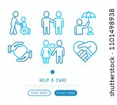 help and care thin line icons... | Shutterstock .eps vector #1101498938