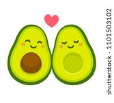cute cartoon avocado couple in... | Shutterstock .eps vector #1101503102
