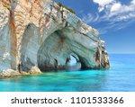 blue caves on zakynthos island  ... | Shutterstock . vector #1101533366