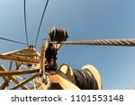 close up crane cable drum | Shutterstock . vector #1101553148
