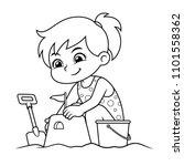 girl making sand castle bw. | Shutterstock .eps vector #1101558362