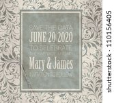 wedding card or invitation with ... | Shutterstock .eps vector #110156405
