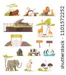 Zoo Animals Cartoon Icons...