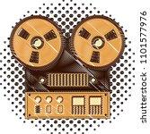 reel to reel tape recorder...   Shutterstock .eps vector #1101577976