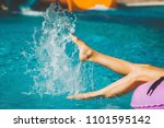 ladys slim and soft legs on the ... | Shutterstock . vector #1101595142