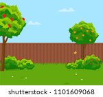 sunny back yard with green lawn ... | Shutterstock .eps vector #1101609068